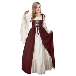 Discount bell costume women - Medieval Costume For Adult Women Long Gown Dress Victorian Bell Sleeve Square Collar Renaissance Vintage Dress For Ladie