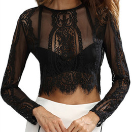 Discount tee shirt transparent - New 2018 Long Sleeve Sexy Transparent Lace Women Top Tees Female Black Hollow Out Crop Top Camisole Elegant Ladies T-shi