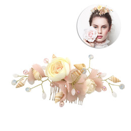 Evening Hair Combs Australia - 1pcs Bridal Hair Combs Shell Silk Yarn Flower Hair Comb Headpiece Clips Accessories for Dating Evening Party Wedding