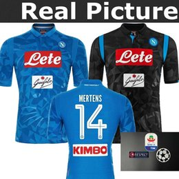 f11e92e21 2019 Napoli Home Blue Soccer Jersey 18 19 Naples Blue Soccer Shirt 2018  Customized  14 MERTENS  17 HAMSIK  24 INSIGNE Football Uniform Sales