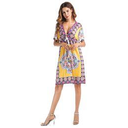 Printed Indian Dress UK - Sari India Indian Sari Dresses 2018, Europe And The Selling New Fashion V Collar Ribbon, Short Sleeved Large Sexy Print Dress