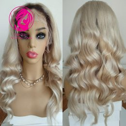 pretty brazilian human hair 2018 - Fantasy 150% Ombre Blonde Dark Roots Brazilian Remy Hair Lace Front Wig Pretty Wavy 13*4 Pre Plucked Human Hair Wig with