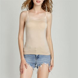 0e2aaa7bc34a0 Women Strap Built In Bra Padded Bra Modal Tank Top Camisole Camis 2018 New  Summer Casual Basic Shirt Women Tops 5 colors