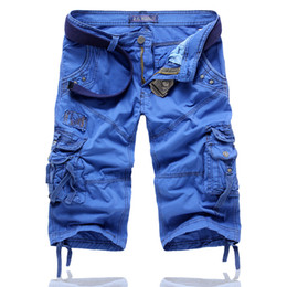 Venta al por mayor de Hot Cargo Shorts Men Shorts Denim Straight Bermudas Moda Masculina de marca Multi-bolsillos Mens Shorts Homme Pantalones