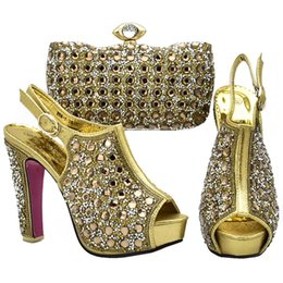 f795edf4a7d2 Ladies Italian Shoes and Bag Set Decorated with Rhinestone for Party Women  Italian Ladies Shoes and Bag Set High Quality