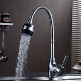 Chrome Levers NZ - Flexible Pipe Stream Sprayer Kitchen Faucet Deck Mounted Hot and Cold Kitchen Tap Single Lever Bathroom Mixers in Chrome
