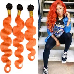 ombre hair extensions 22 inch NZ - Dark Roots Two Tone 1B Orange Color Hair Extension 10-30 Inch Ombre 1B Orange Body Wave Hair Weft 3Bundles Free Shipping