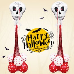 Round Skull NZ - White Skull Foil Balloons With Rain Tassel Balloons Red Round Latex Balloon Column Stand Home Decor Halloween Party Decoration