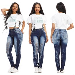 4dd256afd3c Womens Ripped Destroyed Skinny Denim Designer Jeans High Waist Pencil Pants  Slim Trousers Ladies Women Hole Jean