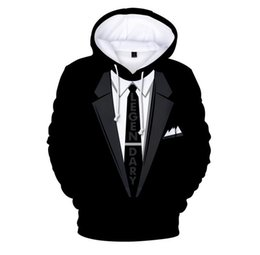 Funny tuxedos online shopping - New Fashion Couples Men Women Unisex HD Cartoon Tuxedo Funny D Print Hoodies Sweater Sweatshirt Jacket Pullover Top L0M061