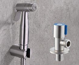 toilet bidet hose 2018 - Free shipping stainless steel two function Toilet Hand held Bidet Diaper Sprayer Shower and stainless steel angle valve