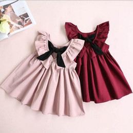 Collar dress pink laCe girl online shopping - 2018 INS hot selling summer girl kids sleeveless bow pleated dress kids round collar back hollow out elegant dress
