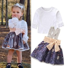 Owl shirt set online shopping - 2018 Baby Girls Sets Kids Autumn Fashion Ruffle Long Sleeve White T Shirts Owl Floral Suspenders Bow Skirts Suit Halloween Clothing