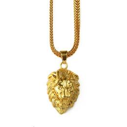 Men head crown online shopping - 2018 Mens Gold Lion Head Charm inch Franco Chain Hip Hop Golden Crown King Lion Pendant Necklace Men Women