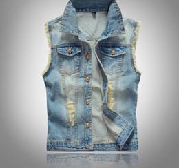 f4127e24d Fall-Big Size Ripped Vintage Cowboy Waistcoat Washed Male Jean Vest Mens  Sleeveless Denim Jacket Plus Size 5XL 6XL Light Blue