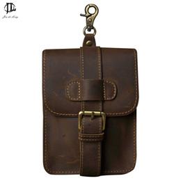 Horse Oils Australia - Retro Oil Wax &Crazy Horse Genuine Leather Mens Waist Bag Travel Fanny Pack Belt Loops Hip Bum Bag Wallet Purses Phone Pouch
