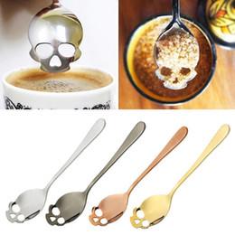 Metal skulls gold online shopping - Sugar Skull Tea Spoon Suck Stainless Coffee Spoons Dessert Spoon Ice Cream Tableware Colher Kitchen Accessories GGA364