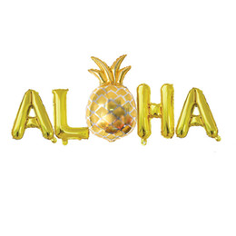 Discount metallic balloons Hawaiian Party Foil Balloons 16Inch Metallic Mylar ALOHA Summer Party Birthday Balloons Favors Supplies Free Shipping QW