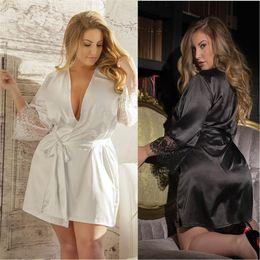 Sexy Silk Lingeries Australia - Sexy lingerie ice silk bathrobe nightgown  kimono nightgown sweat evaporate lingeries fabb13f90