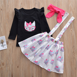 197d01543 Halloween Newborn Baby Clothes Infant Toddler Kids Girls Clothes Set Cute  Cat Patch T-shirt+Cat Full Printed Suspenders Skirt+Headband 3pcs