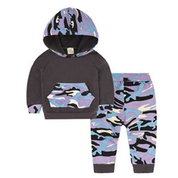 Girls Camouflage Trousers Canada - The new 2018 boys and girls autumn clothing camouflage cap trousers suit clothes cute newborn baby clothes