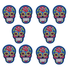 $enCountryForm.capitalKeyWord Canada - 10 pcs Colorful Skull Punk patches badges for clothing iron embroidered applique iron on patches sewing accessories for clothes