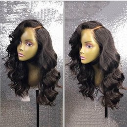 body wave wig cap hairstyles 2018 - Big Body Wave Human Hair Wigs Bleached Knots Full Lace Wigs Brazilian Malaysian Medium Size Side Part Swiss Lace Cap Lac