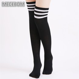 343b0edf7 2018 Women Thigh Socks Fashion Black White Striped Knee High Socks Female  Over The Knee Cotton Stocking Sexy Girls b6003