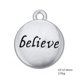 $enCountryForm.capitalKeyWord Australia - Antique silver plated believe message disc DIY charms Fit for Necklace and Bracelet