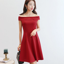 8bdfa32881da Sexy Mini Dresses Korean Red UK - Summer Women Clothing Sexy Patchwork  bodycon Korean Slash Neck
