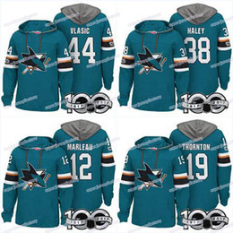 ice hockey hoodie sweatshirt UK - Men 100th San Jose Sharks Jerseys 19 Joe Thornton 38 Rudolfs Balcers 44 Marc-Edouard Vlasic 34 Antoine Bibeau Hoodies Jerseys Sweatshirts