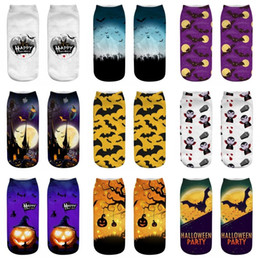 Wholesale cool 3d socks online – funny Halloween D Print Socks for Women Mens Big Kids Pumpkin Bat Ankle Socks Cat Witch Cool Polyester Short Socks