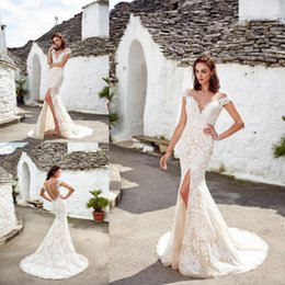 Wedding dress front design lace online shopping - New Designed Mermaid Lace Wedding Dresses Off Shoulder Appliques Split Long Bridal Gowns Formal Country Weddings