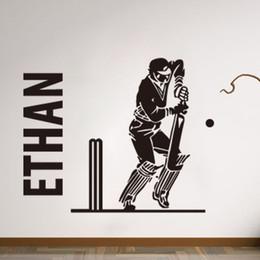 Discount custom names stickers - PERSONALISED cricket batsman player sports boys bedroom Mural Custom Name Vinyl Wall Stickers Boys Room Decor 44*55 cm