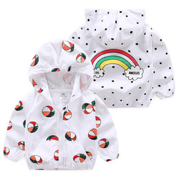 ball jackets Canada - Children Sun Protective Clothing Summer Baby Hooded Jackets Cute Cartoon Ball Rainbow Print Boys Outerwear & Coats Kids Clothes