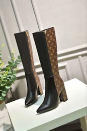 Stivali da donna classici di marca Stivali da donna in pelle Scarpe da donna di alta qualità con tacco alto per le signore Stivali invernali da autunno Plus Size Immagine reale