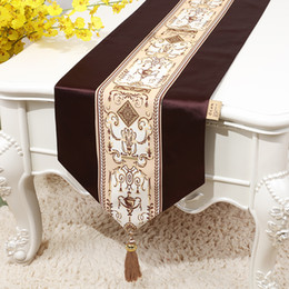 Damask Party Decorations NZ - Extra Long European Modern Silk Fabric Table Runner Lace Patchwork Wedding Christmas Party Decoration Damask Table Cloth Rectangle 300x33 cm