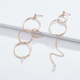 Copper Earrings Australia - HUIDANG Fashion Trendy Gold Plating Simple Designs Multi Copper Circles Linked Women Asymmetrical Earrings