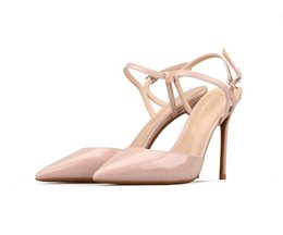 $enCountryForm.capitalKeyWord UK - 34-42 large size baotou stiletto belt with 9CM high heels, pure color, pointed high-heeled women sandals T219