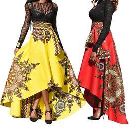 926f78a0a3 Patrón étnico irregular de las mujeres de primavera fiesta de verano  banquete largo paraguas falda moda casual caliente
