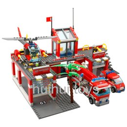 Fire Brick Toys Canada - Wholesale-AIBOULLY Original City Fire Station 774 pcs set Building Blocks Educational Bricks Toys brinquedos City Firefighter Bringuedos