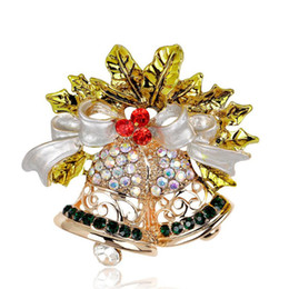wholesale indian bells UK - Clothing Christmas Rhinestone Bow Bell Brooch Jewelry For Women Girls Party Gifts Fashion Scarf Pin Brooches