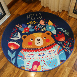 christmas bathroom decor NZ - 1 Pcs Cute Cartoon Bathroom Carpet Christmas Decor Floor Mat Diameter 80cm Anti-Slip Bedroom Carpet Living Room Rug tapetes Rugs For Kitchen