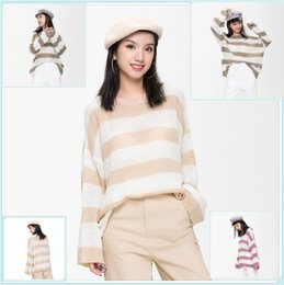 Knit Pattern Stitches Australia - women New Style Popular Ladies Knit Sweater Mohair Jacket Knit Shirt Strip Pattern Stitching Ladies Sweater Factory