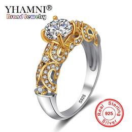 118b832cfe1e YHAMNI Joyería Fina 100% Original Puro Anillo de Plata de ley 925 de Color  Oro Sona CZ Diamond Band Anillos de Boda para Mujeres JZ243