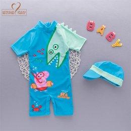 181daff4aa4f Free Ship Summer baby boy swimwear+hat 2pcs set dinosaur animals swimming  suit infant toddler kids children Spring beach bathing