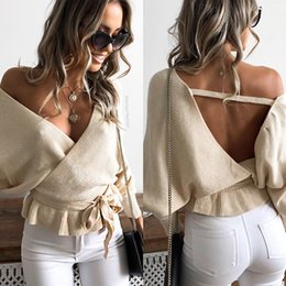backless sweater long sleeve 2019 - New Sexy V Neck Backless Women Sweaters Bow Tie 2018 Long Sleeve Backless Autumn Winter Sweater cheap backless sweater l