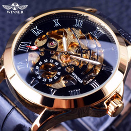 mens watches small wrist NZ - Winner 2019 Male Wrist Watch Luxury Skeleton Mens Watches Top Brand Luxury Automatic Watch Small Dial Golden Case Fashion Casual
