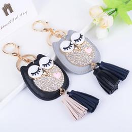 Discount birds car - Leather Owl key ring tassel car key chains Lady couple bag ornaments creative fashion charm Bird ornaments keychain