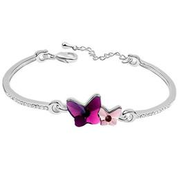 8949641807e7 Cristal de mariposa doble de Swarovski Elements Pulseras del encanto para  mujer Cristales de diseño de mujer Rhinestone joyería 6684